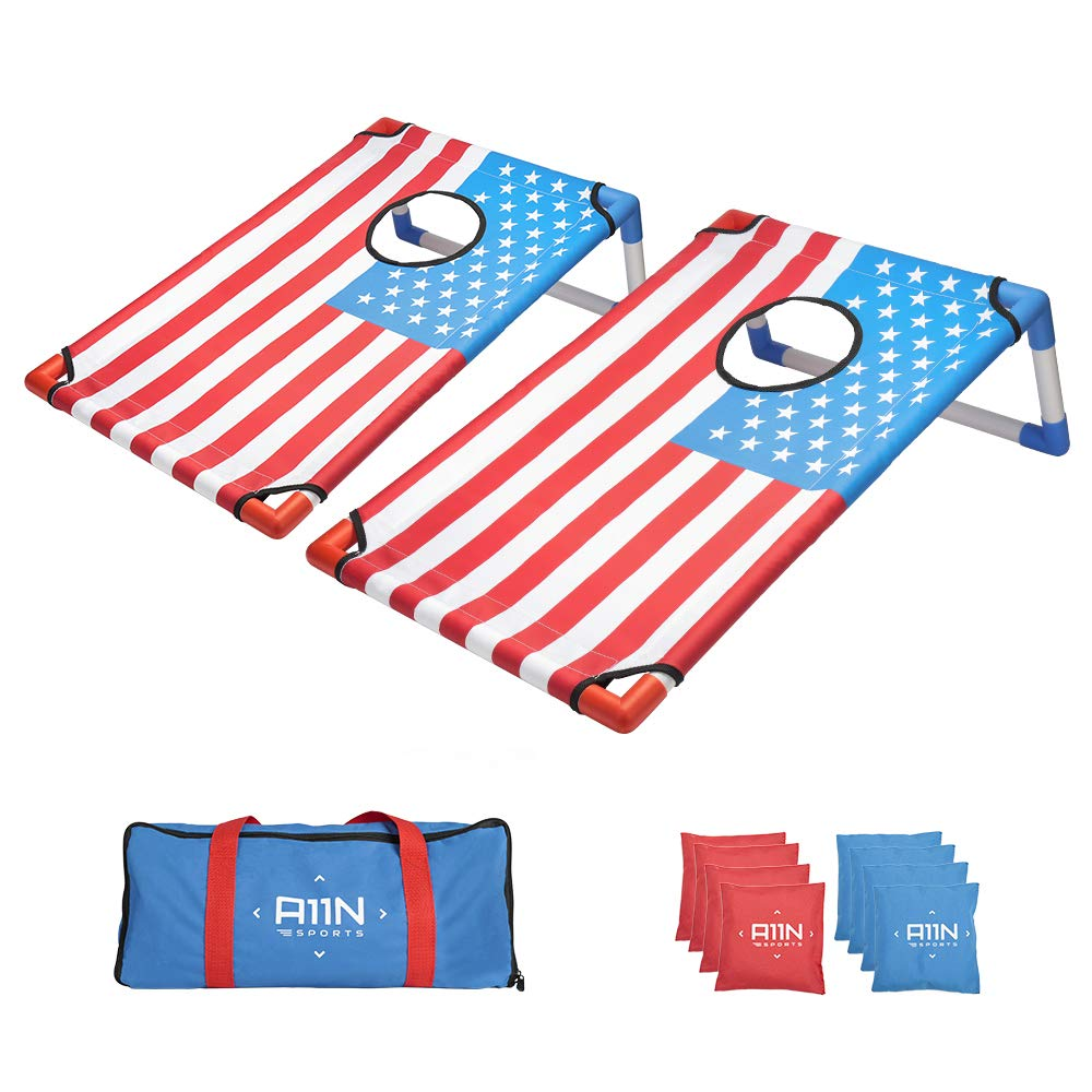 A11N Portable PVC Framed Bean Bag Toss Game Set with 8 Bean Bags & Carry Bag   Popular Cornhole Game Set   American Flag Pattern   Indoor/Outdoor