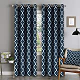Flamingo P Microfiber Noise Reducing Thermal Insulated Moroccan Blackout Drapes Printed Window Curtains for Living Room, Grommet Top, Set of Two Panels, 52 x 96 Inch- Navy