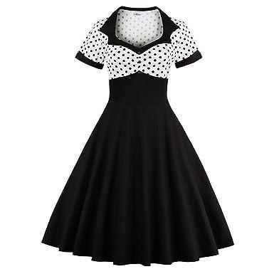 Ladyjiao Womens 1950s Rockabilly Prom Dress Polka Dots Vintage Tea Dress Black S