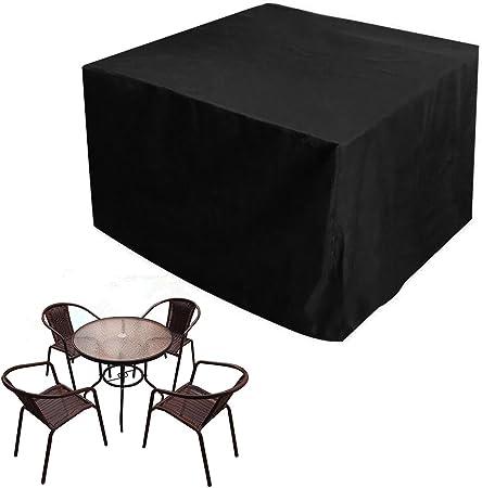 JTDEAL Fundas Impermeables para Mesa Cuadrada, Cubre Mesa Jardin Negro, Oxford Fundas para Proteger Muebles de Jardín, Patio, Terraza, Interior(123 x 123 x 74CM): Amazon.es: Hogar
