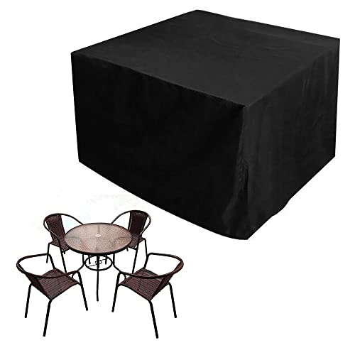JTDEAL Garden Furniture Cover Oxford Polyester Waterproof Patio Furniture Table Covers Outdoor Furniture Covers for Rattan Cube Sofa Tables Chairs Furniture Shelter Protection Black (123*123*74CM )