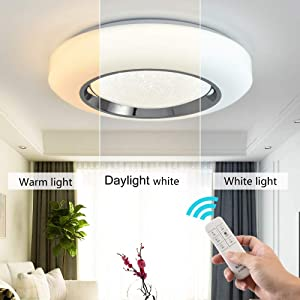 Smart LED Ceing Light Contemporary 20-Inch Flush Mount Fixture with Remote Control 3960LM Auffel Modern Dimmable Surface Round Close to Ceiling Lights for Bedroom Kitchen Dining Room (3000K-6000K)