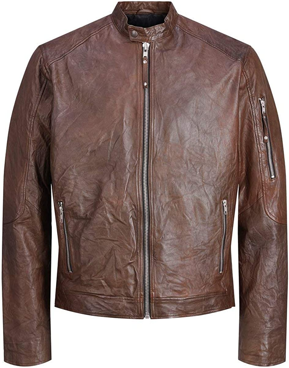 Jack & Jones Jjerichard Clean Leather Jacket Noos Chaqueta para Hombre