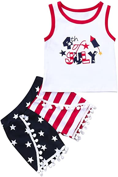 Jchen TM Toddler Baby Kids Boys Girls Vest Tops+Striped Shorts 4th of July Outfits for 0-4 T