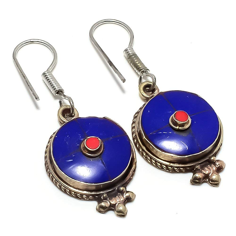 Nepali Work Red Coral Silver Plated 6 Grams Earring 1.5 Handmade Jewellry Blue Lapis