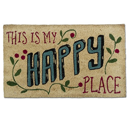 tag - Coir Mat, Decorative All-Season Mat for the Front Porch, Patio or Entryway (This is My Happy ()