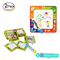 Flytoo Water Painting Graffiti Education Set with 4 color Doodle Mat and 16 Animal Painting Cognitive Cards And 2 Water Pen Games Toy for Toddlers Kids Baby