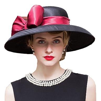 Wedding Hat Women Big Brim Fedora Hat Banquet Party Hats Kentucky Derby Hat  at Amazon Women s Clothing store  fac633dd83d