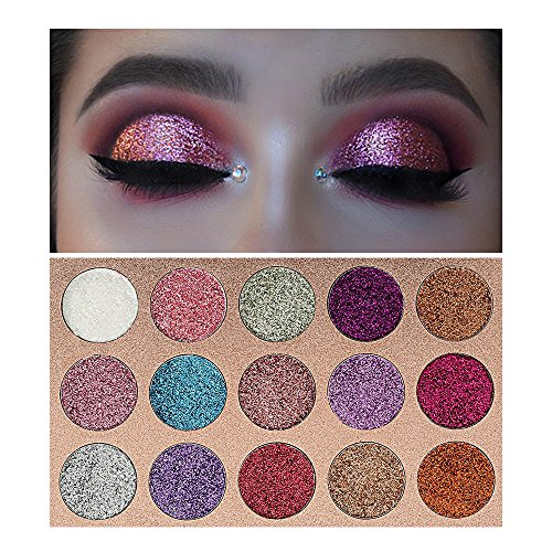 Beauty Glzaed 15 Colors Glitter Make-up Powder Metallic Shimmer Eye Shadow Palette Highly Pigmented...