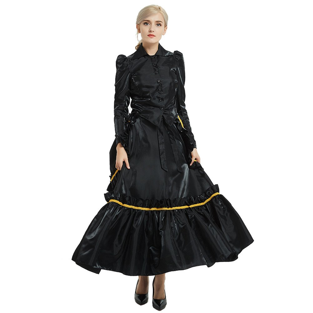 Steampunk Dresses | Women & Girl Costumes GRACEART Steampunk Girl Costume Edwardian Dress with Bustle Top Skirt $58.99 AT vintagedancer.com
