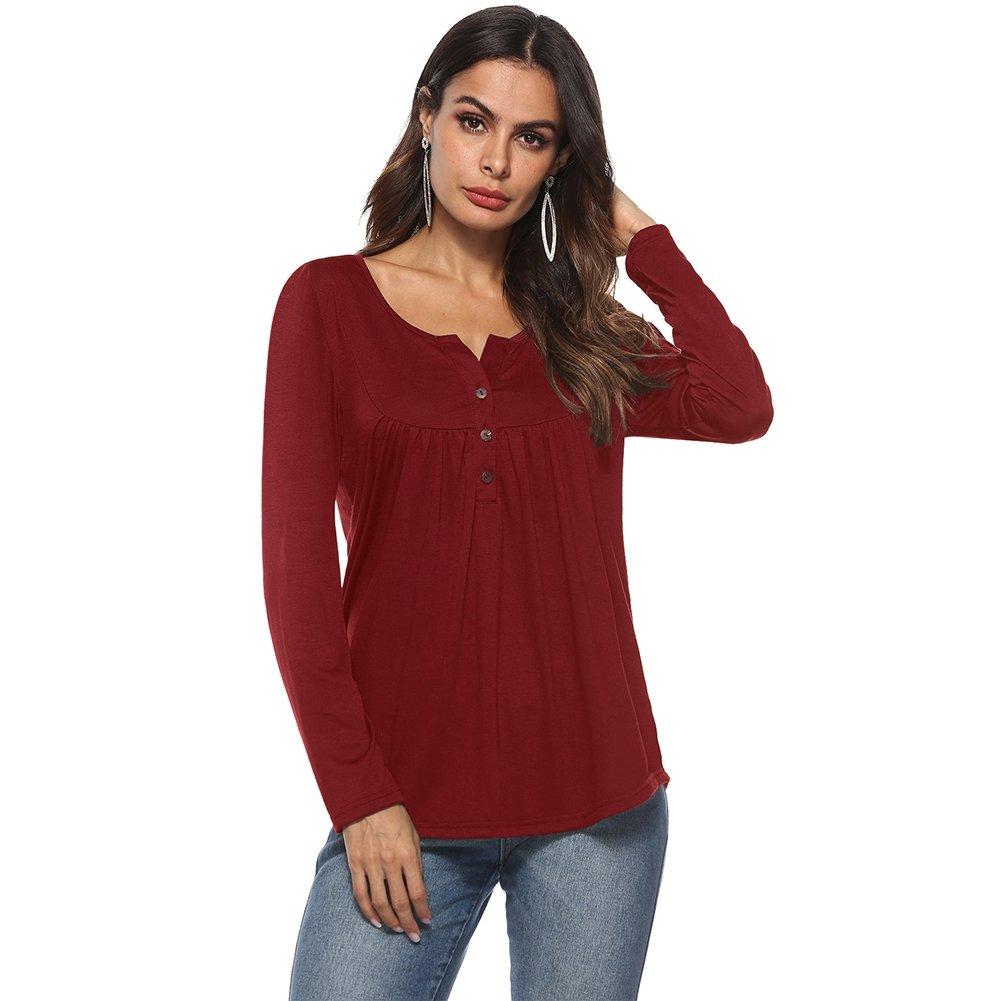 KOERIM Women's Long Sleeve Button up Ruffle T-Shirt Casual Pleated Tunic Tops