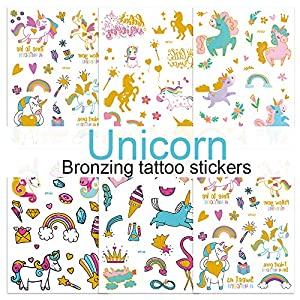 Children's Toys Creative Stickers Tattoos Bronzing Cartoon Children's Tattoo Designs of Antelope Unicorn Temporary…