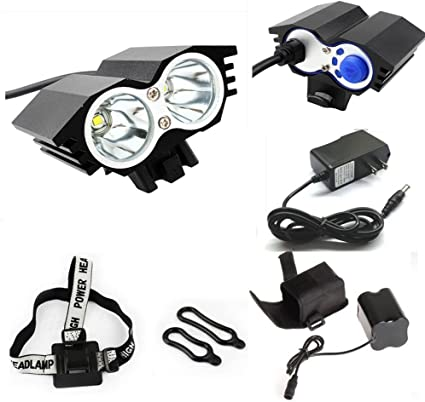 5000 Lumen 8.4V Rechargeable Cycling Light Bicycle Bike Front Rear LED Lamp Set