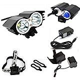 ETpower® 5000 Lumens XM-L U2 LED Bicycle Light & 6400mAh Battery Pack & Charger , 4 Modes Waterproof LED Bike Lmap headLight Super Bright Lighting Lamp for Outdoor Sports Like Cmaping Hiking(BLACK)