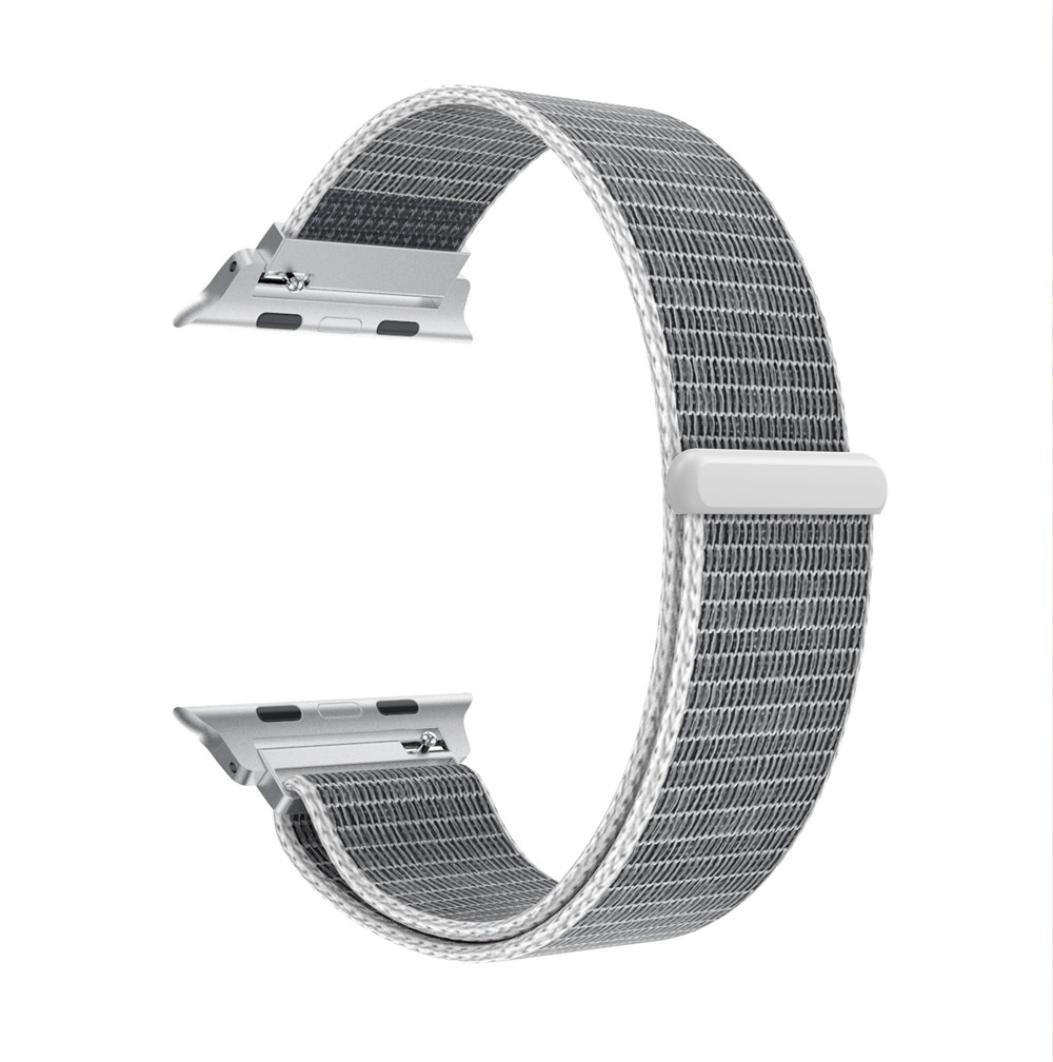 高級ナイロン時計ブレスレット手首バンドストラップfor Apple Watchシリーズ3 / 2 / 1 38 mm  シルバー B079CV58PF