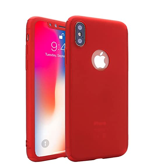 new concept c0daf af838 iPhone X Case,AICase Ultra Thin Full Body Coverage Protection Soft PC [Dual  Layer][Slim Fit] Case with Logo Position Cutout Free Tempered Glass Screen  ...