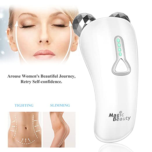3D Roller Massager, Electric Face Massage Roller Y-shaped Full Body Face Tighten Micro-current Massage Roller