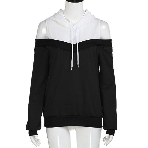 Amazon.com: Sweatshirts Hoodie Sexy Cold Shoulder Long Sleeve Sweatshirt Hooded Pullover Tops Jumper Sudadera Mujer Black: Clothing