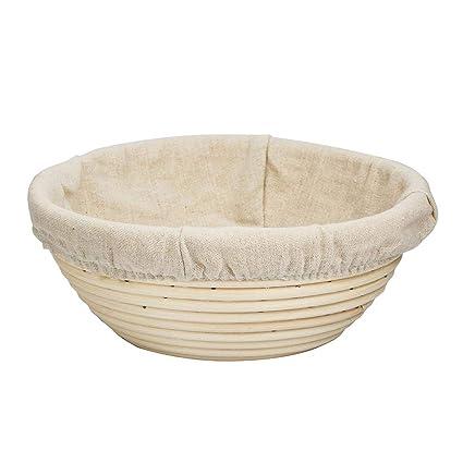 Anna-neek Cesta a Pan panera Mimbre Banneton Panificadora en Forma Redonda Pan Pasta –