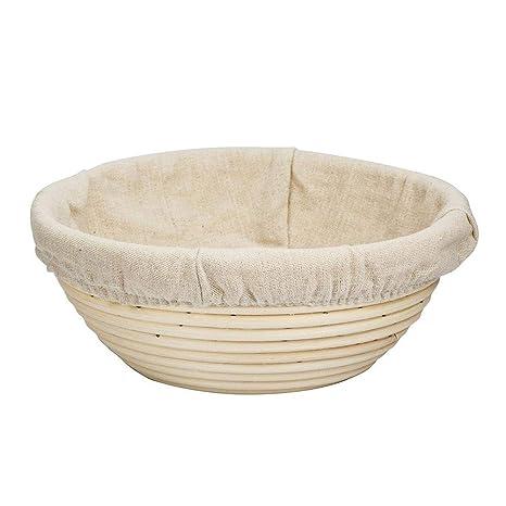 Anna-neek Cesta a Pan panera Mimbre Banneton Panificadora en Forma Redonda Pan Pasta - Cuenco de Madera de Mimbre Hecho a Mano Ideal para Faire cuire el Pan ...