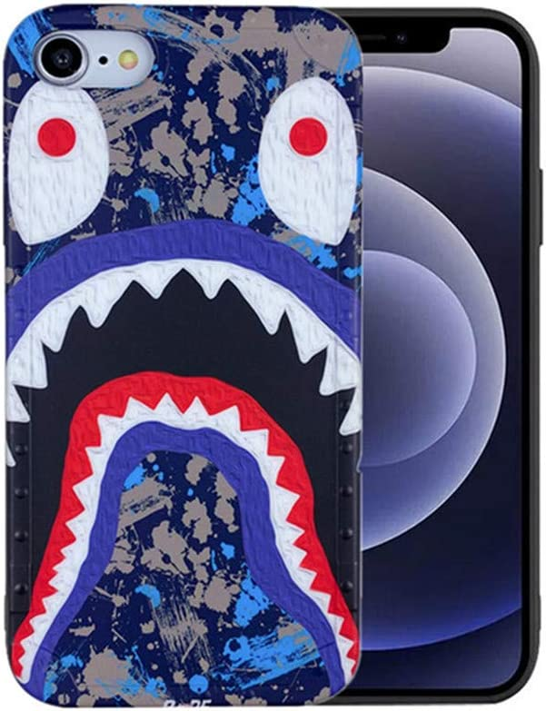 Hoolcase iPhone 7/8/SE2 Case, Street Fashion Shark Face Designed Soft Cover, Sleek Smooth Non Faded Slim Protective Anti-Scratch case for iPhone SE 2020 iPhone 8 iPhone 7[BLACKFISH4.7]