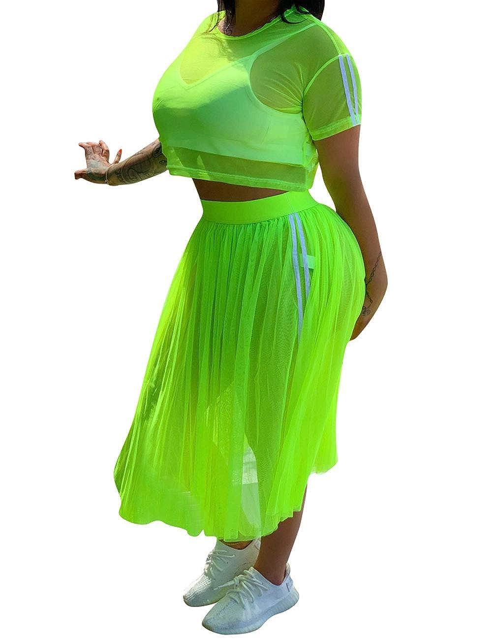 Womens 2 Piece Dress Outfits Sheer Mesh Short Sleeve Tops Midi Skirt Set Jumpsuits