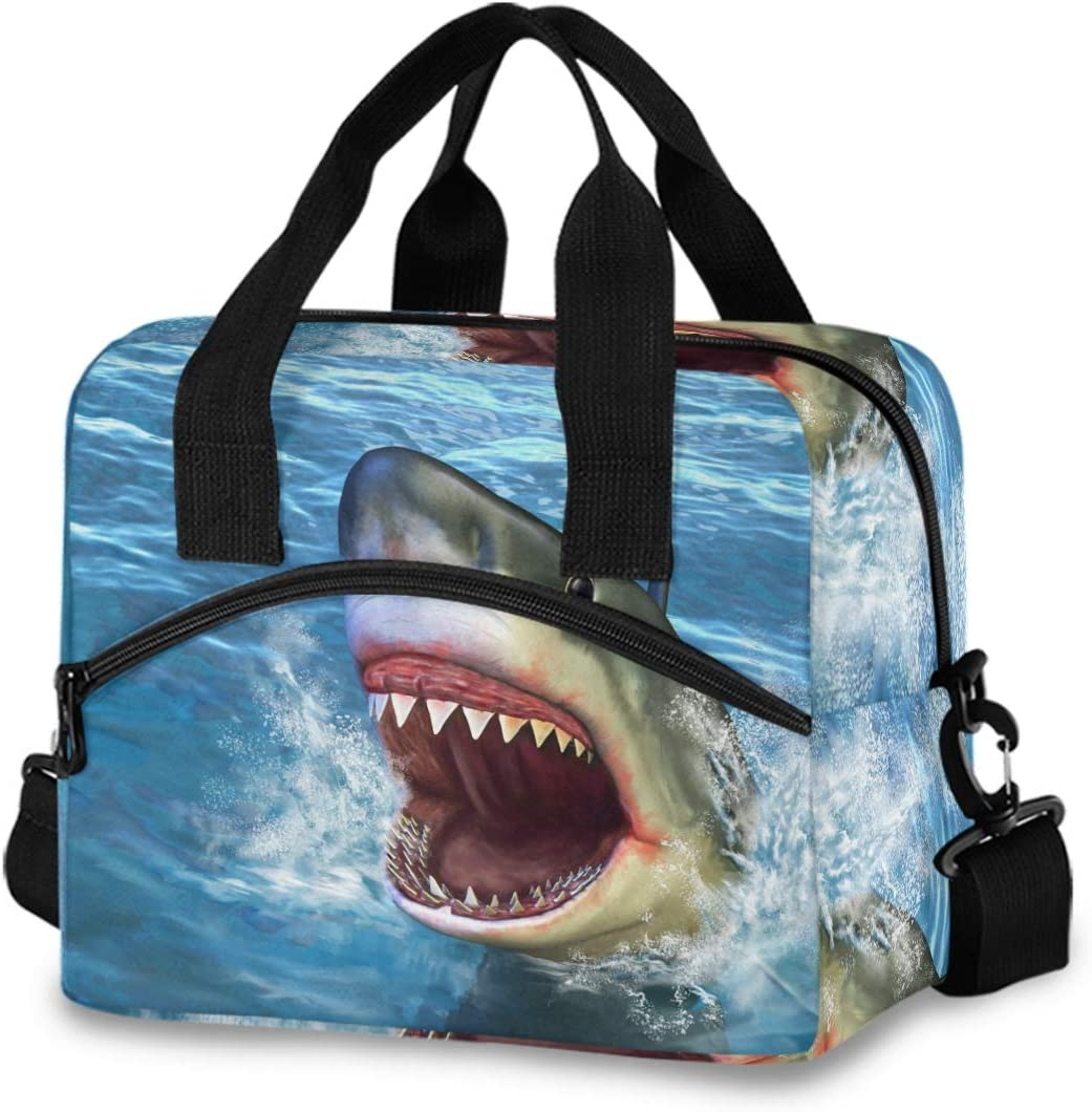 Insulated Lunch Bag Reusable Cooler - Firce Shark Attack Lunch Box Adjustable Shoulder Strap for School Office Picnic Adults Men Women