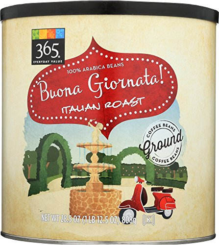365 by Whole Foods Market, Ground Coffee, Buona Giornata – Italian Roast (Canister), 28.5 Ounce