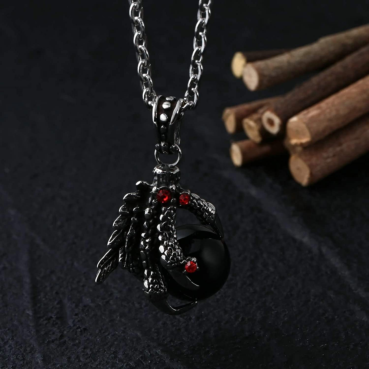 Epinki Stainless Steel Necklace for Men Dragon Claw Ball Necklace Vintage Gothic Biker Punk Rock Necklace