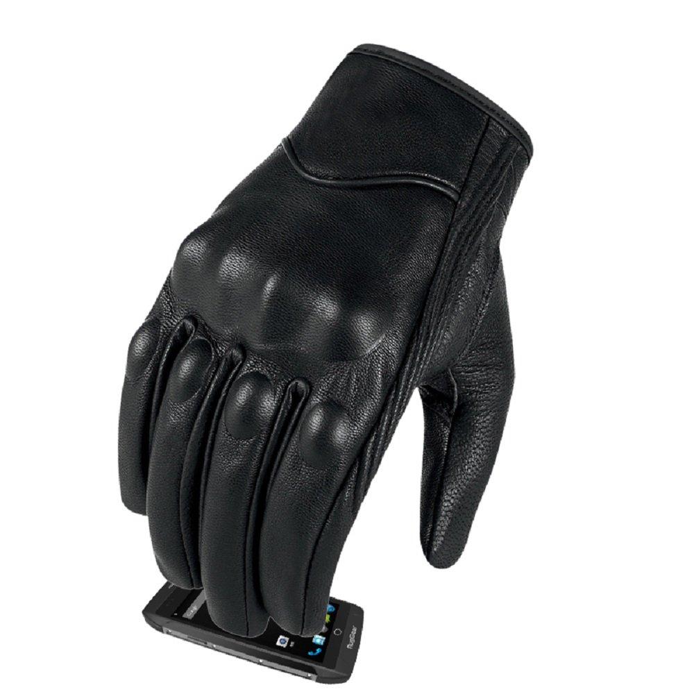 Full Finger Goatskin Leather Motorcycle Gloves Touchscreen Motorbike Riding Gloves For Men Non-Perforated,L