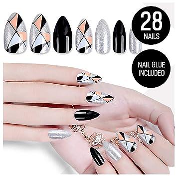 Amazon.com: Coscn - Juego de uñas falsas de color plateado y ...