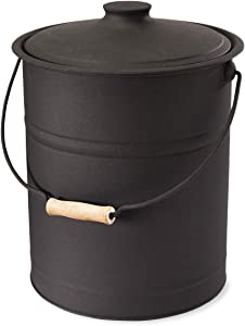 """Plow & Hearth Double Bottom Metal Fireplace Ash Bucket with Lid and Handle, 10"""" Diameter x 13"""" H, Charcoal Black"""