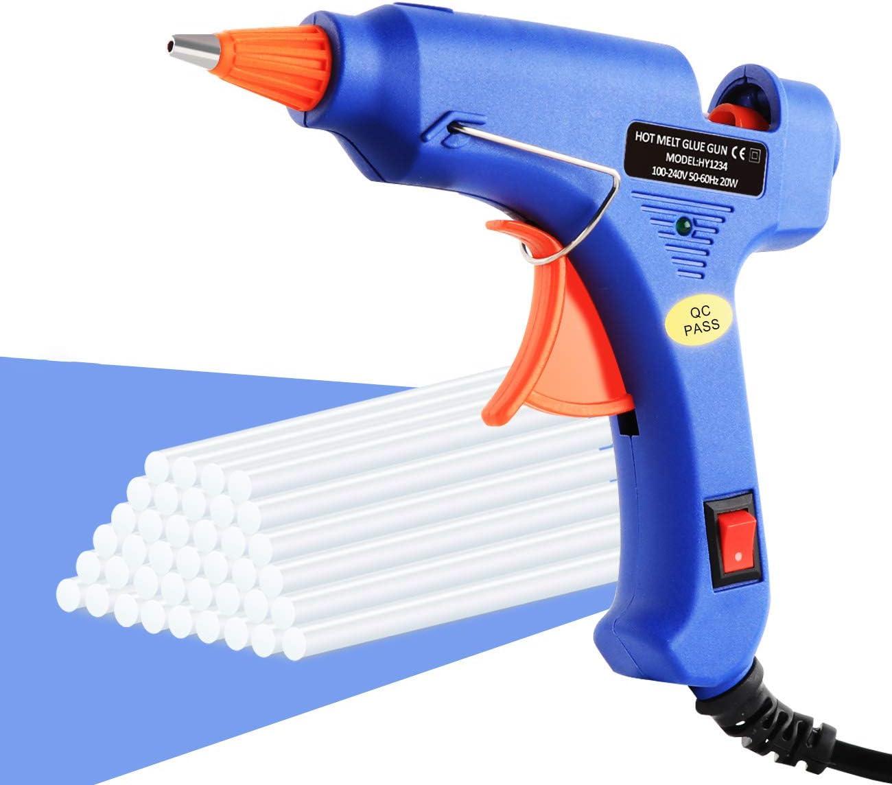 Pistola de pegamento caliente clásica con 60 barras de pegamento de alta temperatura, uso flexible y calentamiento rápido, buen asistente para proyectos y reparaciones, 20 W, azul