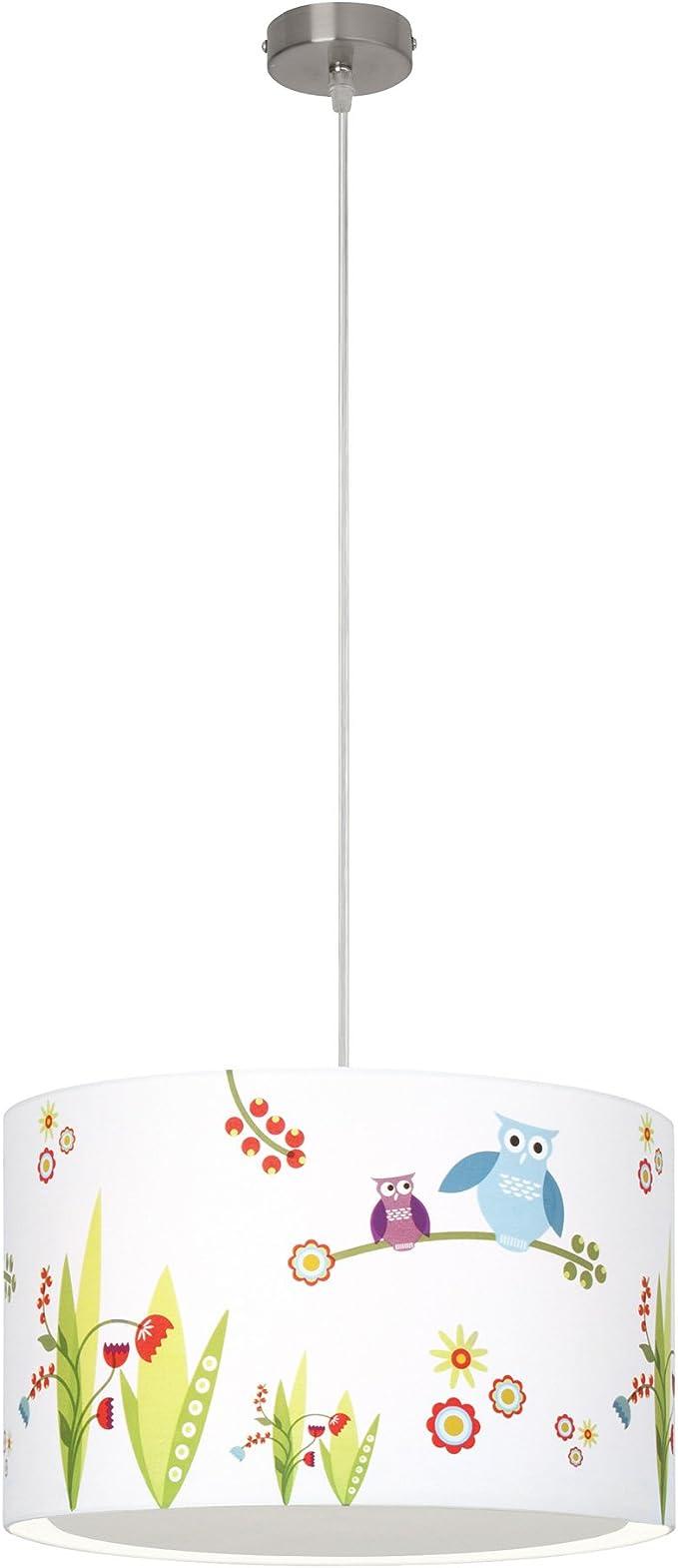 Suspension lampe Oiseaux, abat jour textile avec chouette, Ø 40 cm, 1x E27 max. 50W, métaltextile, blanccoloré