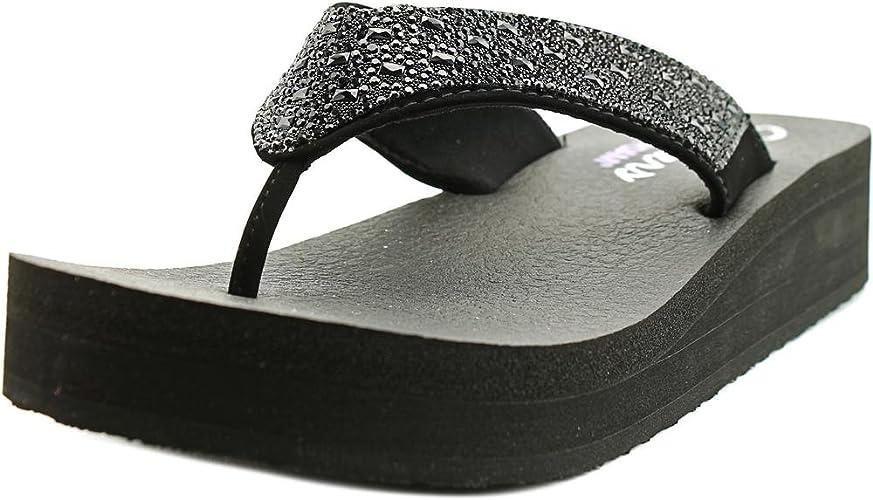 WOMENS SKECHERS YOGA FOAM Black Bling Flip Flops Size 6