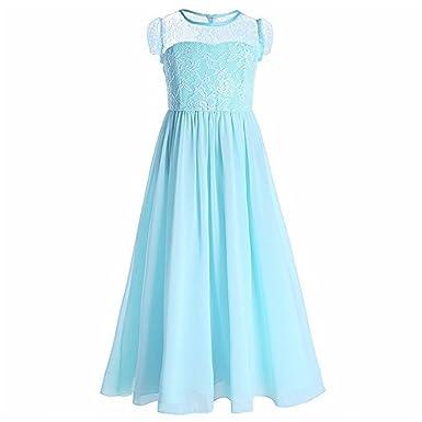 Amazon.com: FKKFYY Girl Short Sleeve Chiffon Long Holiday Princess ...