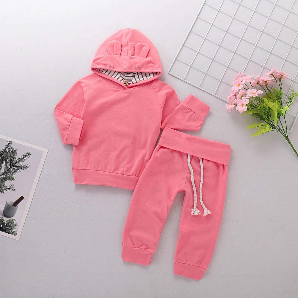 Pants Clothes Sets Xshuai /® 2Pcs Newborn Baby Boys Girls Long Sleeve Solid Hoodie Cartoon Ears Tops