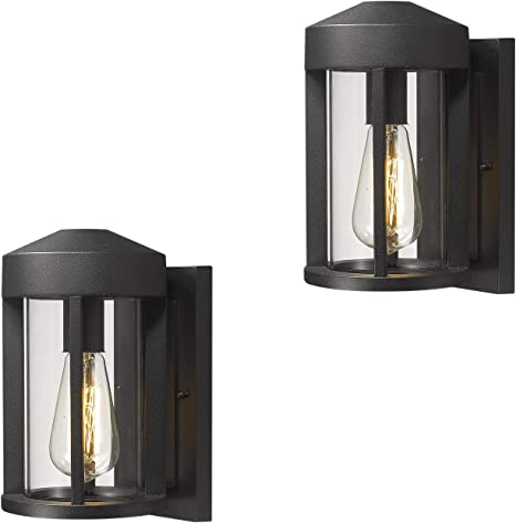 Zeyu Outdoor Porch Lights Wall Mount 2 Pack Wall Lantern Sconce Exterior In Black Finish With Clear Glass 0372 Wd 2pk Bk Amazon Com