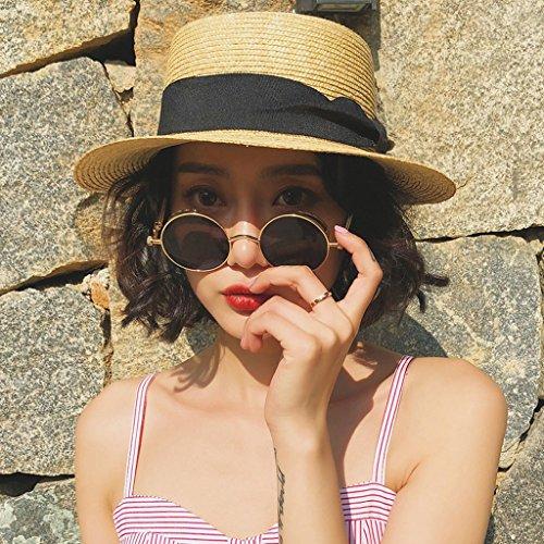 ミニチュア同時葉巻ファッションレディース太陽の麦わら帽子 シェード日焼け止めフラットトップサンストローハット女性夏海辺のビーチバカンス旅行調節可能なバイザー CHENGYI