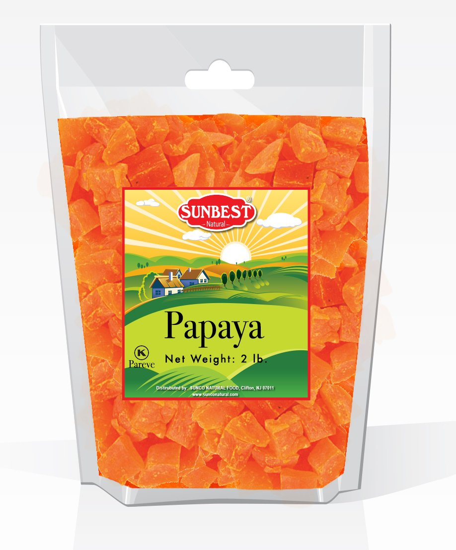 SUNBEST Dried Papaya Chunks in Resealable Bag (2 Lb)