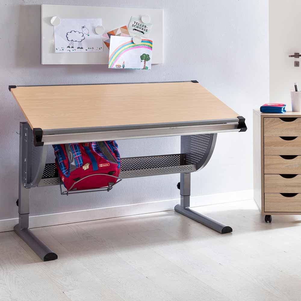 Pharao24 Schulkinder Schreibtisch höhenverstellbar Tischplatte neigbar