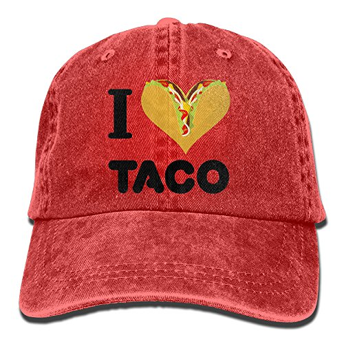 Suaop I Love Taco Adult Vintage Washed Distressed Cotton Hat Leisure Baseball Cap Polo Style Red