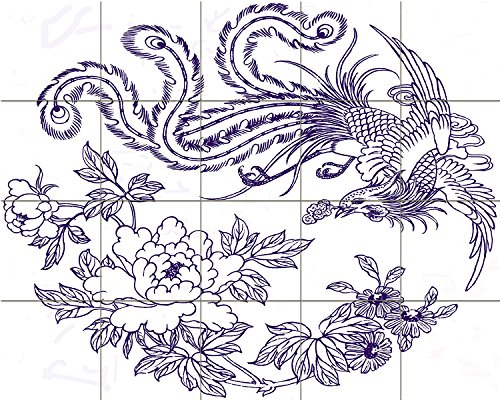 (Tile Mural Chinese Patterns Phoenix Bird Flowers Kitchen Bathroom Shower Wall Backsplash Splashback 5x4 4.25