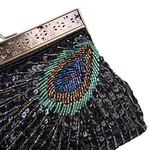 Clutch Black Peacock Turquoise Sunburst Baglamor Evening Purse Handbag Purse Sequin Beaded Eye Navy and Vintage Catching ZExwxPg