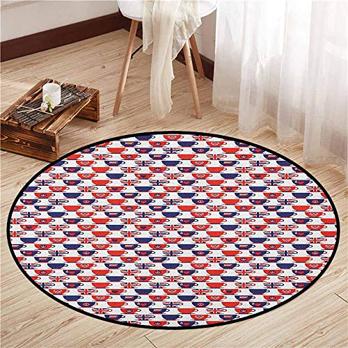 London Scented Cup - Indoor/Outdoor Round Rugs,London,Tea Party Theme Flag Pattern Cups Traditional Drink Independence Day,Anti-Slip Doormat Footpad Machine Washable,4'7
