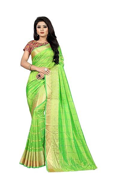 94403bd4ea4d11 Vaankosh Fashion Women's Sana Silk Saree with Golden Zari Border and Heavy  Embroidered Blouse Piece (