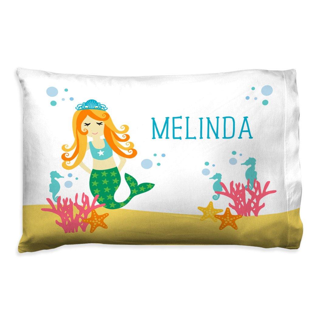 ChalkTalkSPORTS Personalized Girls Pillowcase | Mermaid with Custom Name | White