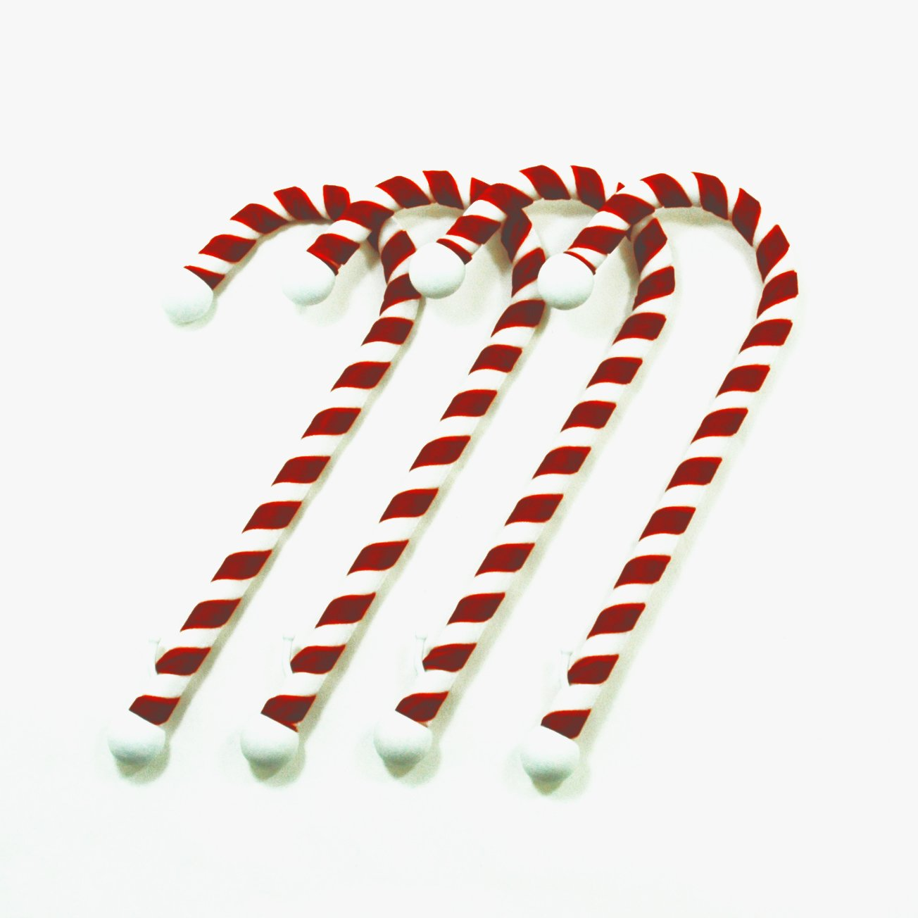 Candy Cane Stocking Holder, (VELVET Material version) 4-Pack, Classic Red & White