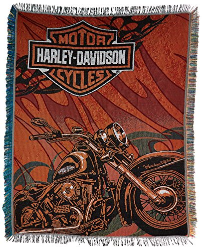 Harley Davidson, Cycle 48-Inch-by-60-Inch Acrylic Tapestry Throw by The Northwest Company