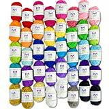 Arts & Crafts : Mira Handcrafts 40 Assorted Colors Acrylic Yarn Skeins with 7 E-Books - Perfect for Any Knitting and Crochet Mini Project